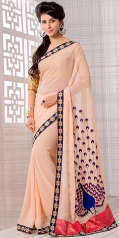 Chraming Cream Color Saree With Nice-looking Embroidered Pallu.