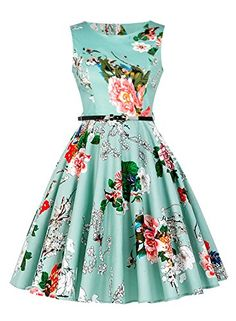 54256c843ed English Factory Women s Vintage 1950 s Floral Spring Garden Rockabilly Swing  Prom Homecoming Party Cocktail Dress Ice