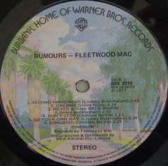 Fleetwood Mac - Rumours (Vinyl, LP, Album) at Discogs Lindsey Buckingham, Gig Poster, Lp Album, Fleetwood Mac, Label Design, Audio, Packaging, Layout, Posters