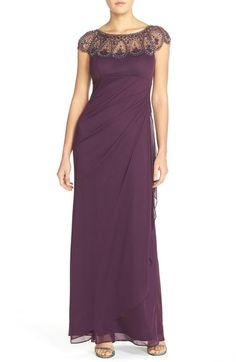 Xscape Embellished Illusion Ruched Jersey Gown available at #Nordstrom