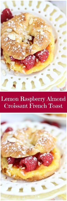 Your weekend brunch needs to include this croissant French toast! It's filled with homemade lemon curd, raspberry jam, and fresh raspberries!