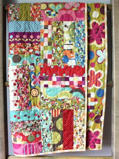 Modern Gender Neutral Quilt- Avant Garden by Momo Red, Teal, Pink, Blue, Green  This quilt is ready to ship to you! It features the Avant Garden by