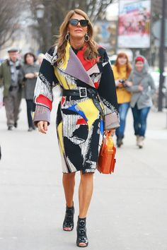 Anna Dello Russo in a graphic-print coat. #Streetstyle at Paris Fashion Week #pfw