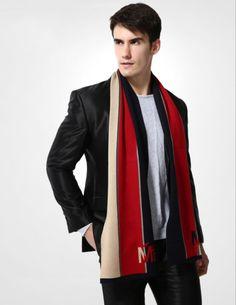 Elegantný pánsky šál z vlny a bavlny - Vzor 03 - 180 cm x 30 cm