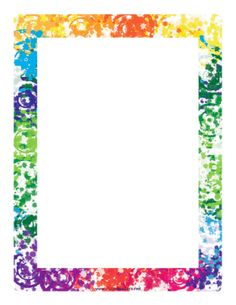 This colorful border features whorls and swirls of all the colors in the rainbow. Free to download and print.