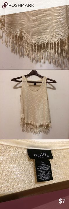 Rue 21 Fringe Tank Top This shirt is labeled XL but it fits like a true M. This flowy shirt was definitely a go-to in my closet as you can dress it up or down. Comfortable, simple and cute. Rue21 Tops Tank Tops