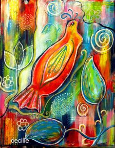 This painting is full of JOY!   Delightful  Original acrylic painting abstract by cecillecreations, $55.00