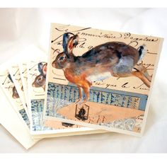 beautiful bunnies - stationary from The Red Door Studio on etsy