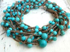 Turquoise Eco-friendly Necklace Bohemian Jewelry Shabby chic Crocheted necklace  Unique Jewelry on Etsy, $77.00