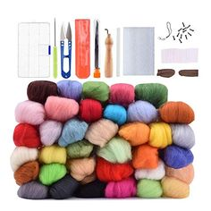 Wool Needle Felting Kit Beginner Wool Roving Set 36 Colors Wool Fibre DIY Craft Materials with Tool Kits Wool Roving Kits *** Read more at the image link. (This is an affiliate link) Diy Crafts Materials, Wool Needle Felting, Amazon Art, Sewing Stores, Sewing Crafts, Fiber, Weaving, Throw Pillows, Spinning