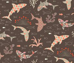 Deep Sea Beauty Contest fabric by kayajoy on Spoonflower -wallpaper; boys bathroom/fabric