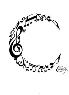 Music notes C monogram in the shape of a crescent moon can also be used as a tattoo or logo. - DdO:) MOST POPULAR RE-PINS -  http://www.pinterest.com/DianaDeeOsborne/logic-math-music - LOGIC & MATH & MUSIC Pinterest Board. Emblem includes treble cleft, 16th notes, flats, sharps,  and musical rest notations. Pin via Amy Wates. ARTIST CREDIT: PHIHEGI (signed copy)