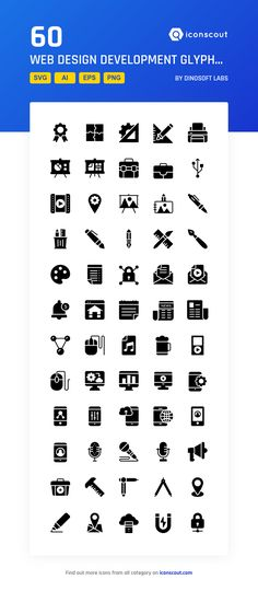 Web Design Development Glyphs Icons  Icon Pack - 60 Solid Icons