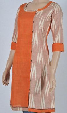 Khadi cotton-orange, Ikkat-brown combination Kurta, with off-set stitched split, open at the lower end only, lined with dummy brocade cloth button-pairs, matching three-fourth sleeve; back is plain orange. Only medium size is available - others are sold out.
