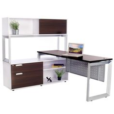 Options Straight Desk with Low Credenza and Overhead Storage - Online Office Furniture