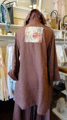 Back View of the Peter Pocket Shirt in Truffle, by Tina Givens. fb.com/mimibellafinelinenwear