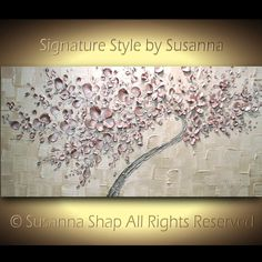 ORIGINAL abstract textured art, curved acrylic painting, curvy twisted blush pink tree, cherry blossoms, large canvas palette knife impasto