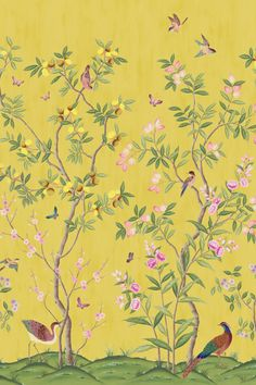 Chinoiserie Wallpaper, Chinoiserie Chic, Wall Murals, Wall Art, Citrus Trees, Botanical Wallpaper, Exotic Birds, Boho Decor, Color Schemes