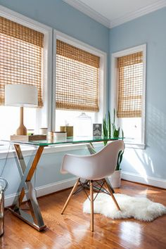 bamboo window shades- love these for the office. Also blue walls aren't bad.