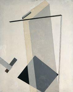 El lissitzky, Proun 30, 1920. À ces compositions, d'abord peintes sur toile, il donne à la fin de 1920 le nom de prouns (« projets pour l'affirmation du nouveau »). S'ils évoquent bien, selon les termes de l'artiste, une « station d'aiguillage entre peinture et architecture », notamment par leurs effets de texture (métallique, transparente, sablée),