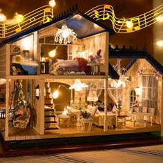Music LED Light Miniature Doll House Provence Dollhouse DIY Kit Wooden House Model Toy with Furniture Birthday Children Gifts . If you need more ideas click the picture or title . Dollhouse Kits, Wooden Dollhouse, Wooden Dolls, Dollhouse Miniatures, Mini Doll House, Toy House, Led Light Box, Led Light Kits, Cheap Doll Houses
