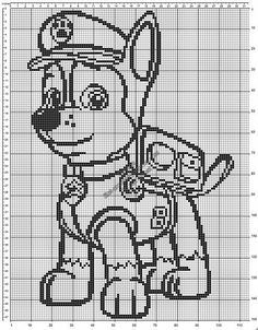 Chase from Paw Patrol free crochet filet pattern baby blanket 114x150