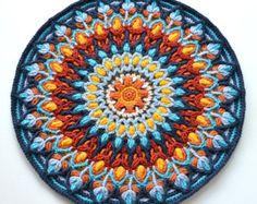 Crocheted mandala potholder round double by LillaBjornCrochet