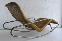 View this item and discover similar chaise longues for sale at - Rare Dirk Van Sliedrecht rattan rocking chair. Only a view of these where made by the designer for Brothers Jonkers rattan factory The Netherlands.