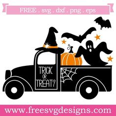 Free SVG files Quote Trick Or Treat Pick Up Truck Halloween design at www.freesv… Free SVG files Quote Trick Or Treat Pick Up Truck Halloween [. Halloween Designs, Halloween Vinyl, Halloween Cards, Fall Halloween, Halloween Phrases, Halloween Prop, Halloween Witches, Halloween Quotes, Happy Halloween