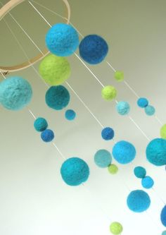Needle Felted Gumball Mobile - Blues and Greens.