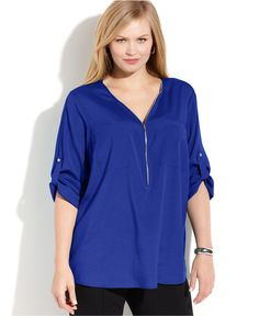 Calvin Klein Plus Size Roll-Tab-Sleeve Zip-Front Blouse - Tops - Plus Sizes - Macy's
