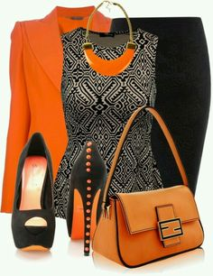 My favorite outfit, hands down! Nice Orange and Black schemed Work Outfit Komplette Outfits, Classy Outfits, Casual Outfits, Fashion Outfits, Womens Fashion, Fashion Trends, Skirt Outfits, Fashion Styles, Fashion Ideas