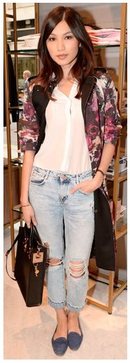 Celebrity Summer Style 2014 | Gemma Chan // distressed denim // white // floral // long coat // cropped jeans // flats // casual // day // fashion