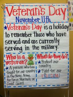 Nice ideas for Veteran's Day Great complement to my Veterans day resource Veteran's Day  https://www.teacherspayteachers.com/Product/Veterans-Day-936581?utm_content=buffer86923&utm_medium=social&utm_source=pinterest.com&utm_campaign=buffer
