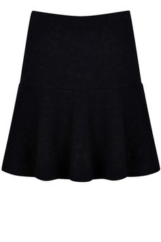 This pretty skirt features a jacquard effect acoss the fabric and has a drop waist hem.