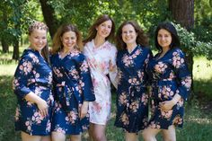 Items similar to Sale Navy Blue Faded Flowers Bridesmaids Robe Sets Kimono Robes. Getting ready robes. Navy Blue Bridesmaids, Bridesmaid Robes, Bridesmaid Flowers, Wedding Bridesmaids, Wedding Dresses, Bridal Robes Getting Ready, Flower Girl Robes, Bridal Party Robes, Wedding Colors