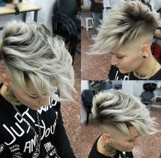 Platinum Faded Faux Hawk Cut By 💈 Model Pixie Hairstyles, Cool Hairstyles, Corte Y Color, Haircut And Color, Hair Brained, Crazy Hair, Hair Dos, Hair Designs, Short Hair Cuts