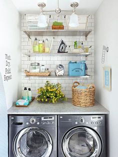 Supplies can even be organized, and cute with these baskets // laundry room