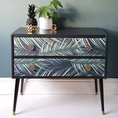 SOLD Upcycled Mid Century Tropical Botanical Palm Print Pair of Drawers Sideboard Upcycled Furniture Botanical century drawers mid Pair Palm Print Sideboard SOLD Tropical Upcycled Paint Furniture, Furniture Projects, Furniture Design, Wallpaper Furniture, Bedroom Furniture, Bedroom Wallpaper Gold, Wallpaper Drawers, Furniture Showroom, Furniture Movers