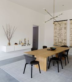 Modern dining room with wooden table