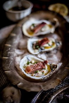 Grilled Oysters on the Half Shell with Grilled Proscuitto & Mignonette