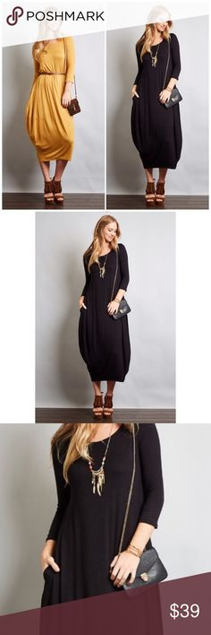 BLACK 3/4 Sleeve Bubble Hem Dress Black 3/4 Sleeve Bubble Hem Dress featuring a round neckline and two side pockets. 95% Rayon, 5% spandex. Available in Mustard. Belt not included. Fits true to size Bchic Dresses Maxi