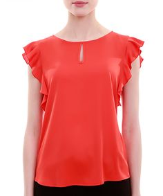 Look at this Pomegranate Keyhole Flutter-Sleeve Top on #zulily today!