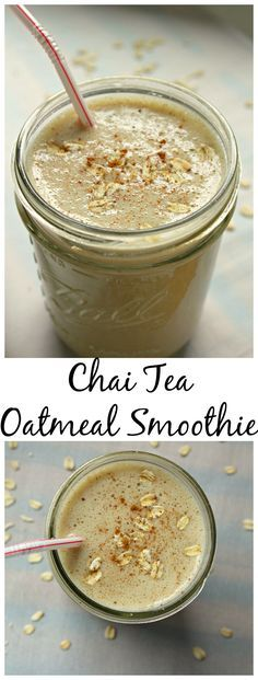 Chai Tea Oatmeal Smoothie: The Perfect breakfast on the go! The right amount of energy and refreshing!   smoothie   oatmeal smoothie   gluten free   gluten free smoothie   smootie recipe   chai tea smoothie   chai tea oatmeal smoothie   chai tea  