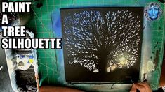 Paint A Tree Silhouette Using Acrylic Paint, Acrylic Painting Canvas, Tree Silhouette, Sky And Clouds, Arts And Crafts, Frame, A Frame, Art And Craft, Frames