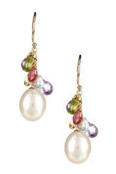 HauteLook | Pearls By Jewelmak: 14K Yellow Gold 10mm Freshwater Pearl & Multi-Gemstone Cluster Earrings