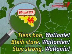 Das belgische Wallonien begehrt gegen CETA auf. Grafik: Sascha Collet/Campact_--- PS: Bisher hat kein Parlament seine Hand gehoben für CETA. Fünf Jahre wurde im Geheimen verhandelt, immer mit dem Hinweis, am Ende dürften die Parlamente mitreden. Und jetzt zeigt sich: Abnicken sollten sie es. Das ist der eigentliche Skandal – nicht die Hartnäckigkeit einer kleinen Region im Herzen Europas.