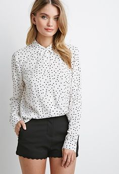 Polka Dot Shirt for $17.90 / FOREVER21 There are two versions: cream/black (the picture) and blush/peach