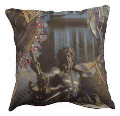 Mermaid king Beautiful digital printed cushion based on the famous Danish poet H. Andersen story the little mermaid, hand made in Spain