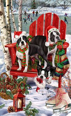 Boston Terrier Christmas Holiday Cards are 8 x 5 and come in packages of 12 cards. One design per package. All designs include envelopes, your personal message, and choice of greeting. Old Christmas, Vintage Christmas Cards, Christmas Pictures, Christmas Holidays, Holiday Fun, Happy Holidays, Holiday Cards, Illustration Noel, Illustrations